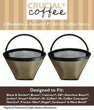 2 Washable Coffee Filter #4 Cone Black & Decker Braun Cuisinart Hamilton Beach
