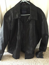 Tommy Hilfiger Classic Black leather jacket -NEW Large - READ ENTIRE LISTING