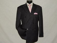 Paul Fredrick Double Breasted Gray chalk stripe men's 100% Wool jacket coat 40 S