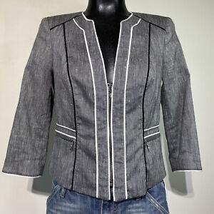 Size 4 Womans WHITE HOUSE BLACK MARKET Cropped Linen Blend Zip Front Jacket