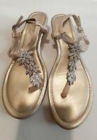 Madeline Stuart Gold Jeweled  Snakeskin Wedge Rhinestone Thong Sandals sz. 6