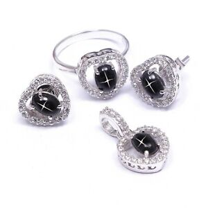 Black Star Sapphire Ring Earrings Pendant Jewelry Set Boho 925 Sterling Silver
