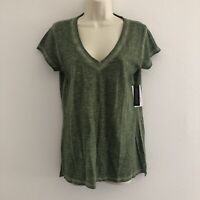 a.n.a. ANA women's small top tee t-shirt chelsea tee green v-neck cotton new