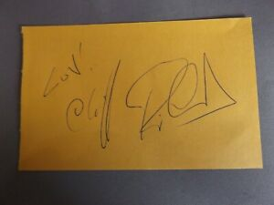 """HAND SIGNED 5"""" x 3"""" AUTOGRAPH BOOK PAGE - CLIFF RICHARD - SINGER"""