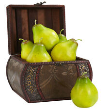 """Set of 6 Artificial Decorative Green Pears Fruits 3.75"""" Length (Fruits Only)"""