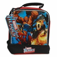 Lunch Bag Insulated 2-Compartment Marvel Heros Spiderman Wolverine NEW