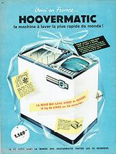 PUBLICITE ADVERTISING 115  1960  HOOVERMATIC  machine à laver