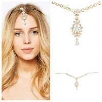 Women Fashion Metal Head Chain Rhinestone Jewelry Headband Head Piece Hair band