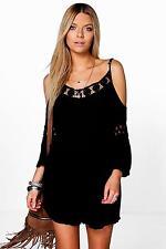 Boohoo Womens Mia Crochet Detail Playsuit Size Small 6-8 BNWT Black Uk Freepost