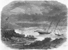DEVON. Ships aground, Batten Bay, Plymouth Sound, antique print, 1865