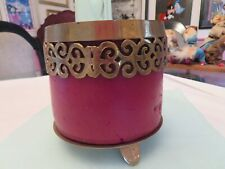 "Hosley India Brass Pillar Candle Holder Scroll Design w/ 6"" x 6"" Cinnamon Candle"