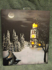 Church at Night Flickering Lighted Canvas Home Decor Wall Art NEW Moon Snow