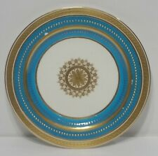 "Antique Minton Gilman Collamore 10"" Cabinet Plate Turquoise Encrusted Gold c"
