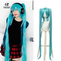"""47"""" Super Long Blue Straight Cosplay Wig 2 Ponytails Women Party Hair Wig"""