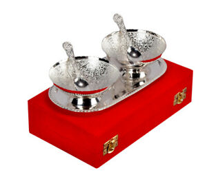 Indian Silver Plated Brass Bowl Set | Premium Quality Bowl with Tray & Spoon