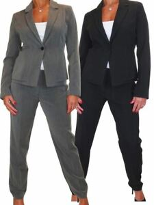Ladies Smart Business Work Lined Jacket Trousers Suit Washable 10-20