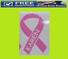 PERSONALIZED BREAST CANCER RIBBON PINK VINYL DECAL STICKER Awareness, Survivor