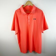 Under Armour Loose Heat Gear Short Sleeve Polo Top Shirt Mens 2XL XXL Orange