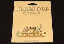 T3BP-G TonePros Standard Tune-O-Matic Bridge, Notched Saddles, Gold