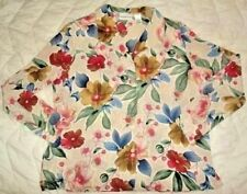 Alfred dunner Womens 14 XL Beige Pink Floral long sleeve Blouse button Shirt Top