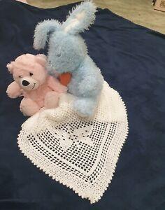 Baby Blanket - Filet Crochet - White Butterflies Baby Throw Rug