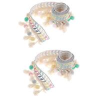 2 Yds Ethnic Style Fringe Tassel Braid Jacquard Ribbon Trim with Pompom Ball