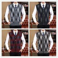 Men's Knitted Checked Waistcoat Sleeveless Cardigan Sweater Tank Top Gilet Retro
