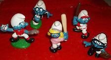 #19 Lot of 5 VINTAGE SMURFETE BASEBALL,Pitcher & Catcher Smurfs PLUS more!
