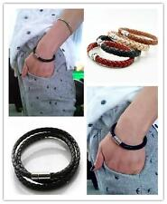 20cm Braided Leather Magnetic Clasp Bracelet, Friendship/Surf Band, 7 Colors UK