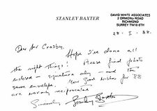 Stanley Baxter - hand written signed card. English comedy actor.
