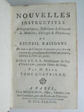 RETZ Nouvelles instructives bibliographiques historiques... Médecine 1787
