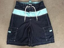 GAP DARK & LIGHT BLUE SWIMMING SHORTS WITH SIDE POCKETS AND FRONT TIE - SIZE M