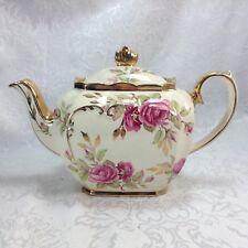 Sadler Roses Cube Gold Teapot Vintage 1949