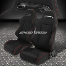 2 X TYPE-R FULLY RECLINABLE UPHOLSTERY BUCKET RACING SEATS+SLIDERS BLACK+STITCH