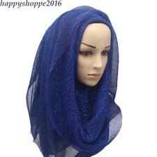 Scarves Scarf Pleated Plain Wrinkle Muslim Shimmer Hijab Shawl Shiny Muffler