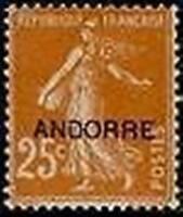 "ANDORRE FRANCAIS STAMP TIMBRE 9 "" SEMEUSE FOND PLEIN 25c JAUNE BRUN "" NEUF x TB"
