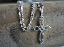 Infinity Heart Cross Sterling Silver Necklace* Gift for her* Celtic cross