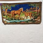 """Vintage Horse Tapestry 20"""" X 37.5"""" Italian Wall Hanging Rug - Made in Italy"""