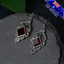 Genuine 925 Silver Plated Ruby Square Crystal Dangly Hook Earrings