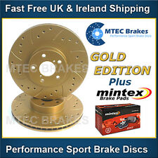 Mercedes SL350 R230 03-13 Drilled & Grooved Rear Brake Discs Gold Edition + Pads