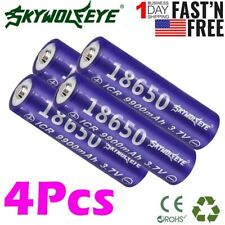 4pcs Power ICR 18650 3.7V Li-ion Top Rechargeable Battery For LED Flashlights US