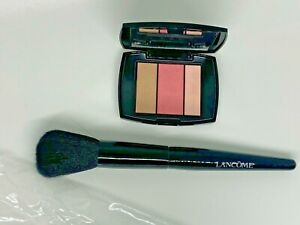 New Lancome Full Size Blush Brush & Travel Size Rose Flush Blush Palette #323 !
