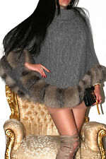 FAB! GREY CHUNKY CABLE KNIT WOOL PONCHO REAL SILVER CRYSTAL FOX TRIM JACKET COAT