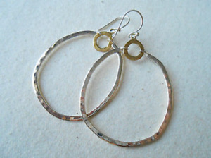 Silpada W3148 Dynamic Duo Brass & Sterling Silver Earrings New Hammered Circles