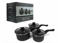 Set of 3 Grey Non-Stick Saucepans with Lids for Cooking 16cm, 18cm & 20cm