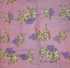 """Kittens Pink Flannel Fabric Material 34"""" Long x 41"""" High Cats Purple Yarn"""