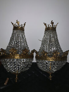 Chandeliers Antique Crystals Made In Spain.Pair Of Beautiful Wall Chandeliers