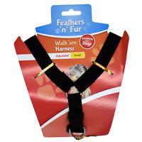 "Dog Harness - BLACK - Fits chest up to 35cm or 13.7"" Inch Brand New"