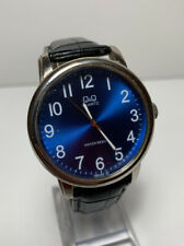 Q And Q Men's Watch Fashion Dress Casual Watch Blue Face Black Leather New Batt.
