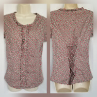Wrangler Womens Snap Western Rodeo Shirt Small Gray Floral Corset Lace Up Back